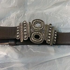 Chico's leather Owl  Belt$38 Sz expandable 32to42